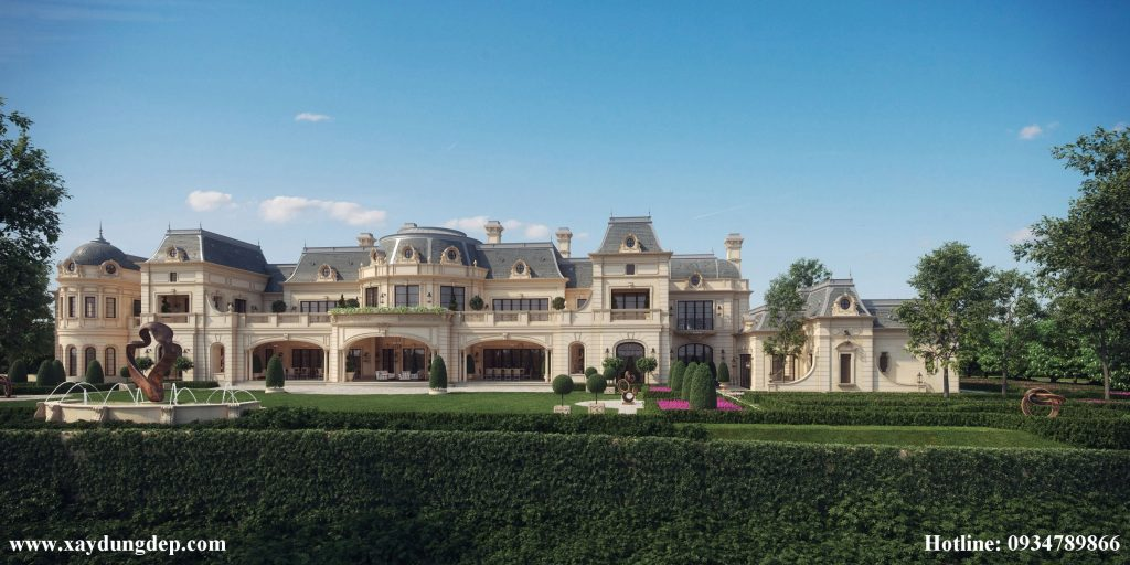 Thiết kế lâu đài dinh thự cổ điển kiểu pháp